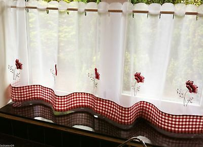 "Poppies Gingham Red Kitchen Embroidered 59"" X 18"" Cafe Panel"