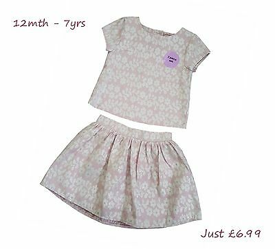 Girls Skirt And Top Dress Kids Baby Party Wedding Formal Bridesmaid Outfit New