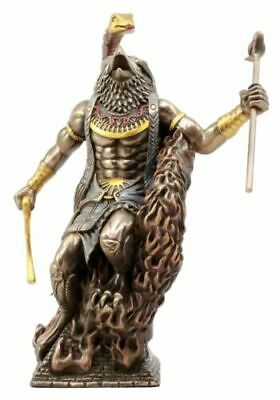 Egyptian God Horus Ra Rising With Fire Cobra Uraeus Figurine Deity of War & Sky