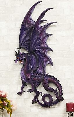 "Atlantic Large Moon Purple Dragon Wall Plaque Wall Decor Collectible 34"" Height"