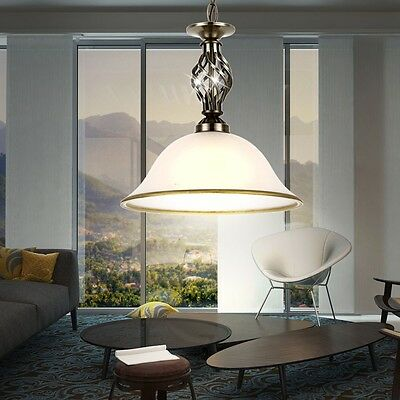 Hanging Pendant Lamp Antique Dinner Room Brass Table Lighting Glass Satin