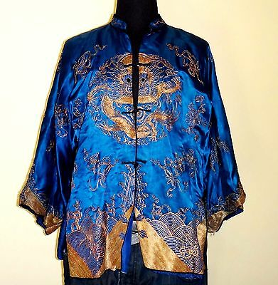 Vintage Persian-Blue Silk & Embroidery Detailed Traditional Chinese Jacket  S/M