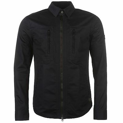 Firetrap Mens Blackseal Shacket Jacket Buttoned Collar Neck Cotton Full Zip