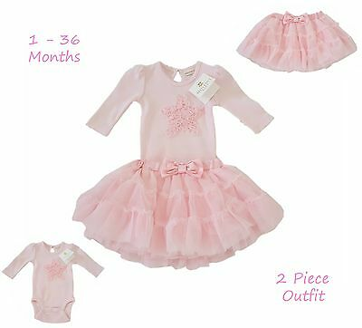Baby Girls Outfit Top Tutu Skirt Dress Bridesmaid Gift Set Pink Boutique 0-36Mth