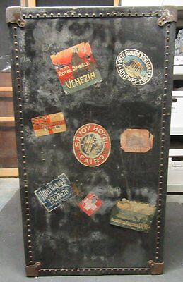 1920's Steamer Trunk Wardrobe Chest W/drawers Hangers Stickers