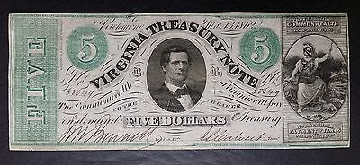 1862 $5 Virginia Treasury Note; Obsolete Currency