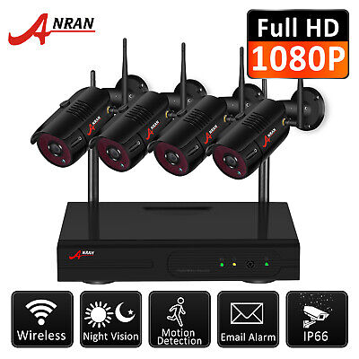 "New 4CH HD 720P Wireless Security CCTV Camera System WIFI 7"" LCD NVR Outdoor Kit"
