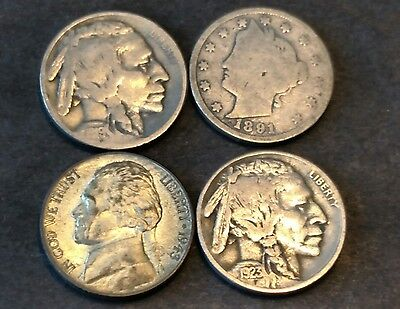 US Nickel coin Collection 1919,1923,1891,1943-S Silver War Nickel