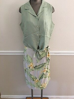 Ladies Tommy Bahama Shirt And Wrap Skirt 2 Pic Set Size 14 Silk