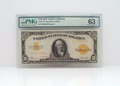 Series of 1922 Large Size $10 Gold Certificate PMG 63 Choice Unc EPQ Fr#1173
