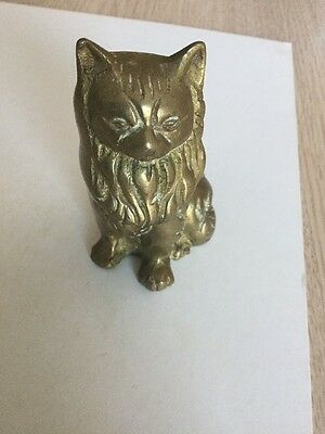 Vintage Solid Brass Cat Figurine Statue  Kitten Antique Small Door Stop