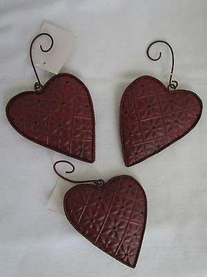 PRiMiTiVe Style Red Ceiling Tile Heart Bell Ornaments 3pc NEW Tender Heart