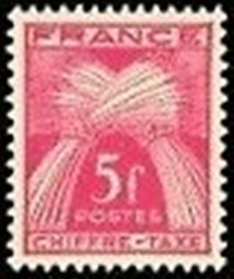 "FRANCE STAMP TIMBRE TAXE N° 75 "" TYPE GERBES 5F ROSE-LILAS "" NEUF xx LUXE"