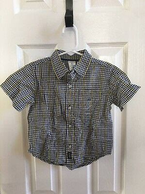 Nwt Old Navy White Blue Yellow Plaid Button Front Shirt Boys Baby 18-24 Months