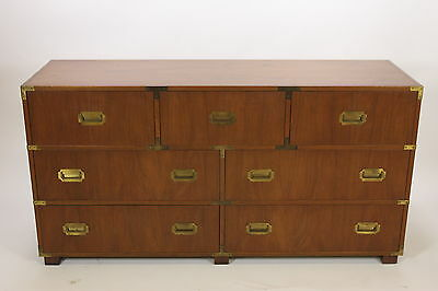 Baker Furniture Mid Century Campaign Style Chest Of Drawers Brass Corners Walnut