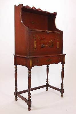 Red Drop Front Tall Desk W/ Oriental Hand Painted Scene Crackled Finish Vintage