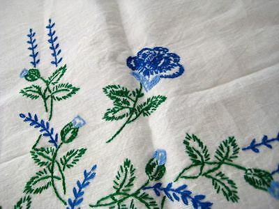 "Vintage Unused Linen Tablecloth Blue Rose  Embroidery Scallop Hem 40"" Sq 4 Naps"
