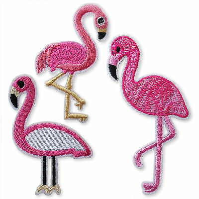 Flamingo Iron/Sew on Appliques Embroidered Patches Motif Scrap-booking  Craft
