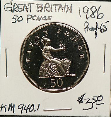 Great Britain, 1986 50 Pence, Proof,                                        8mgm