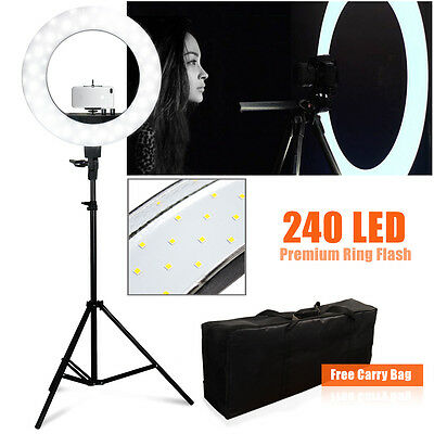 "LED Camera Photo 18""outer 14""inner 600W 5500K Ring Dimmable Flash Light Stand"