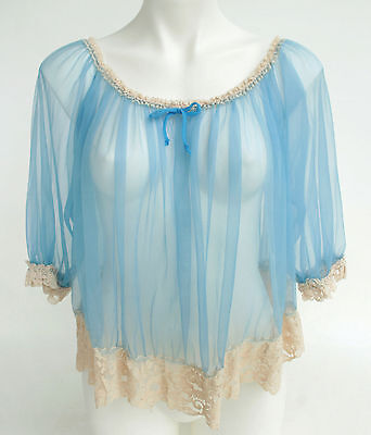 Vintage Blue Sheer BABYDOLL Lace Nightie Top Negligee Lingerie Nightgown M L XL