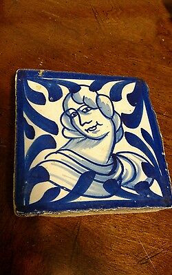 ANTIQUE TILE Blue & White Lady Design BEAUTIFUL Delft ?