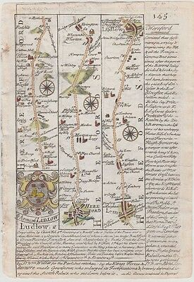 1736 Bowen Road Map - From Hereford, Ludlow and Church Stretton to Shrewsbury