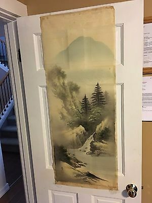 """Beautiful Vintage Japanese 18"""" x 45"""" Wall Hanging Scroll delicate fabric"""