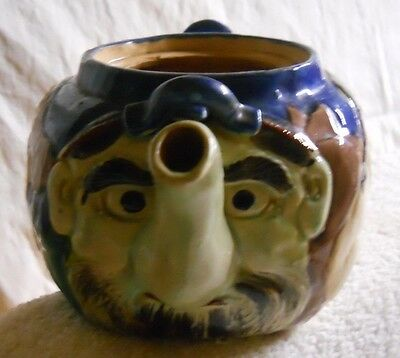 Antique Vintage Japanese Banko Ware Pottery Teapot Four Faces No Lid