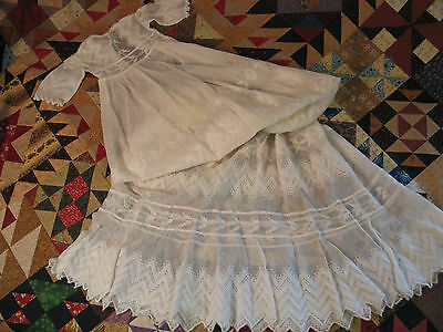Antique 1900's~Infant Dress~Christening Baptismal Gown-Embroidered Lace-LG Doll