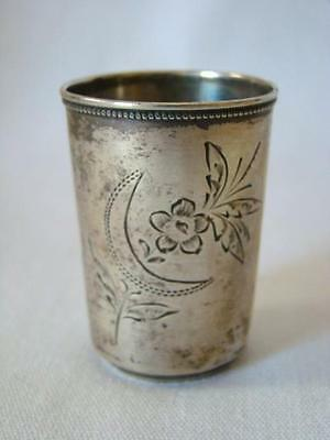 Tiny Antique Russian JIGGER, Marked 84 Sterling Silver, Etched SHOT GLASS