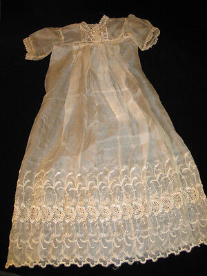Antique VTG Silk~Infant Dress~Christening Baptismal Gown-Doll-Embroidery-Lace