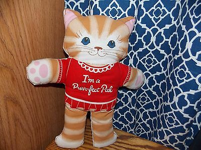 Vintage Cat Stuffed Toy Handmade I'm a Perfect Pal