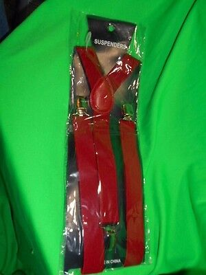 New Children Kids Boy Girls Clip-on red Suspenders Elastic Adjustable Braces
