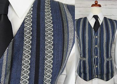 Vtg Single Breast Tapestry Stripe Cotton Casual Waistcoat -M- Loose Fit DF89