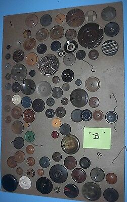 """Vintage Antique Button Lot On 10"""" X 14"""" Card Old Buttons Collection """" B """""""
