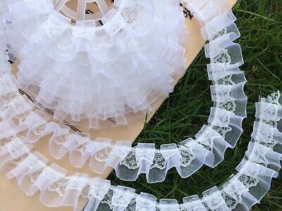 5 Meters White Double Layer Ruffle Unilateral Lace Tulle Ribbon Trim 25mm Sewing