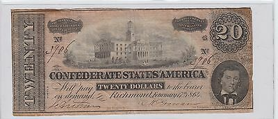 $20 Confederate Currency 1864