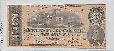 $10 Confederate Currency 1863 1St Series T-59