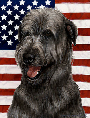 Garden Indoor/Outdoor Patriotic II Flag - Black Irish Wolfhound 321641