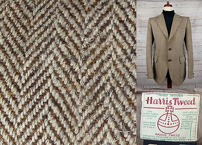 Vtg 1960s Brown Herringbone Harris Tweed Jacket Mod -40- DF13