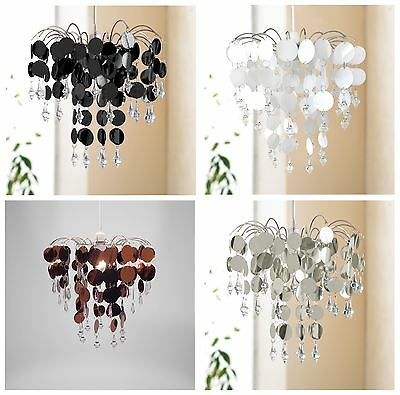 Easy Fit Chandelier Ceiling Pendant Light Shade 32 cm, Chic Black Silver Copper