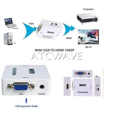 VGA To HDMI HD 1080P HDTV Video Audio Converter Box Adapter For PC Laptop