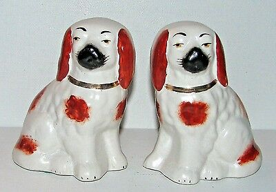 Pair Staffordshire Seated Facing Spaniel Dog Figurines Made in England