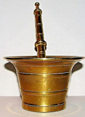 Antique Drug Store Kitchen Apothecary Brass Mortar & Pestle Signed JCR