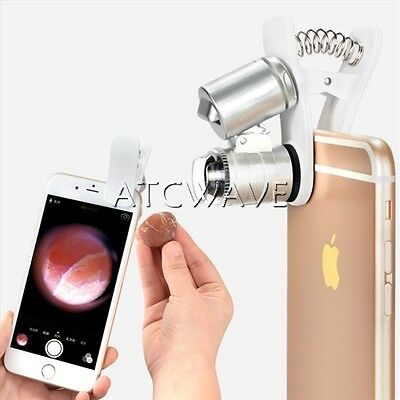 60X Clip-On Microscope Magnifier with LED/UV Lights for iPhone 7 7s 6 6s Plus