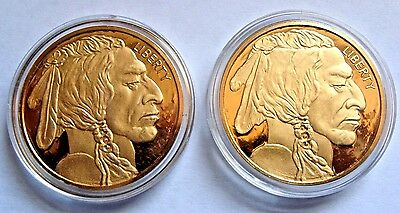 LOT 2 2010 Indian Head Buffalo Gold Plated Coin Dollar Proof Copy Token Medal