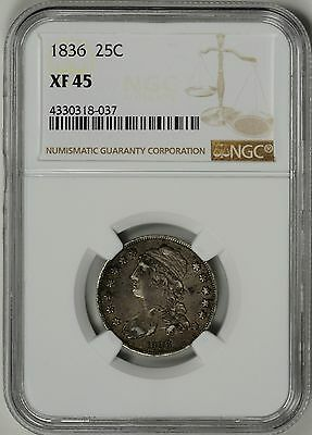 1836  25c  NGC  XF45  CAPPED BUST QUARTER  *  #4330318-037