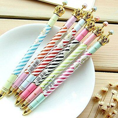 6PCS Fresh Princess Crown Ballpoint Pens For Writing Office Novelty Stationery
