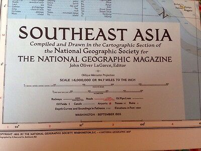 Vintage Map: Southeast Asia September 1955 National Geographic